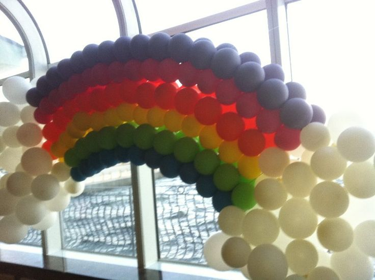 17 best images about balloon arches on pinterest mickey for How to make a rainbow arch
