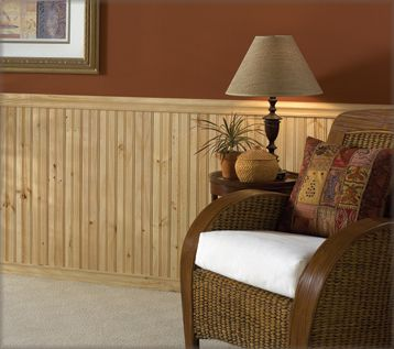Beadboard Pine Wainscot, Chair Rail and Base Molding