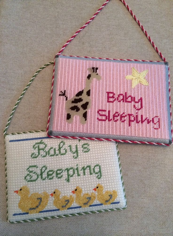 Baby Sleeping Hanging Signs ~ canvases by JChilds