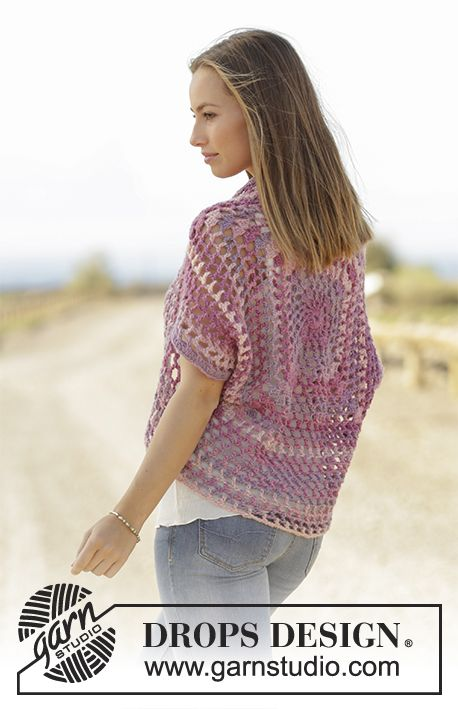 Garden Paradise shoulder piece made from a square by DROPS Design. Free Crochet Pattern
