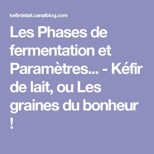 Les Phases de fermentation et Paramètres... - Kéfir de lait, ou Les graines du bonheur !