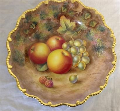 Royal Worcester Painted Plate with frilled edge and gold trim