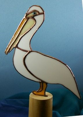 White Pelican Stained Glass Suncatcher for limited by glassnwood, $30.00