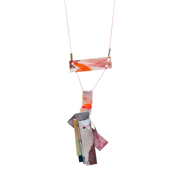 Pendant by Kate Tucker and Emma Grace (Sterling silver, paper, paint, thread)