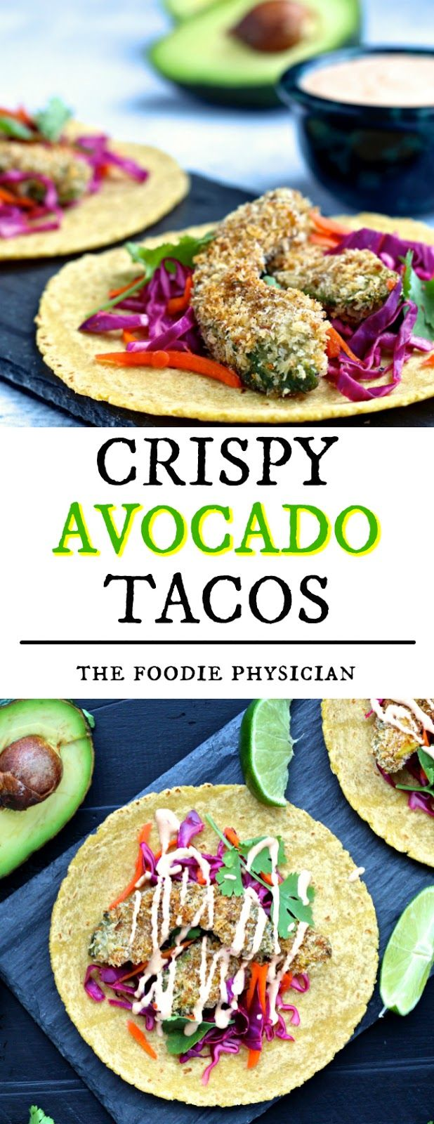 Crispy Avocado Tacos. Featuring baked avocado fries, these hearty vegetarian…