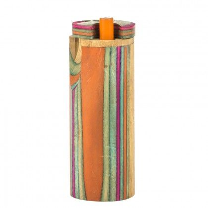 Multicolored Round Wooden Dugout Pipe - http://honeycombbong.com/multicolored-round-wooden-dugout-pipe/