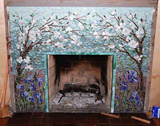 Mosaic Fireplace Surround/Dogwood and Irises | Designer Glass Mosaics | Designer Glass Mosaics