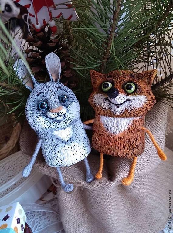 Купить Лисёнок и зайчонок (ёлочные игрушки) - рыжий, серый цвет, лисёнок, заяц, ёлочные игрушки