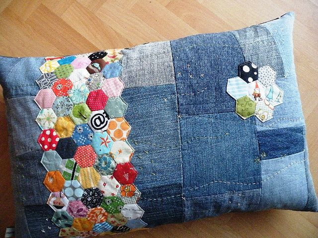 Denim pillow with colorful hexies