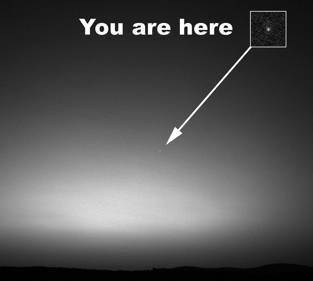 This is the first image ever taken of Earth from the surface of a planet beyond the Moon. It was taken by the Mars Exploration Rover Spirit one hour before sunrise on the 63rd Martian day, or sol, of its mission. (March 8, 2004)