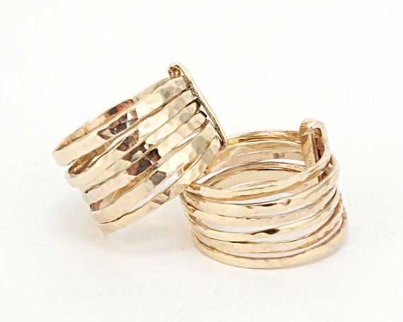 2 Hammered Skinny Rings / Set of 7 ring made of by LIRANSHANI