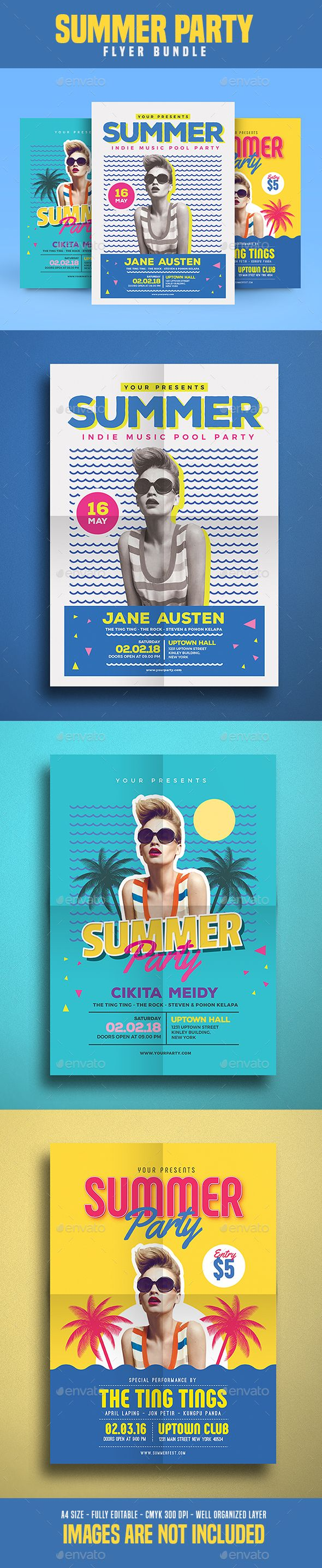 Summer Party Flyer Templates PSD Bundle. Download here: https://graphicriver.net/item/summer-party-flyer-bundle-vol_02/17624622?ref=ksioks