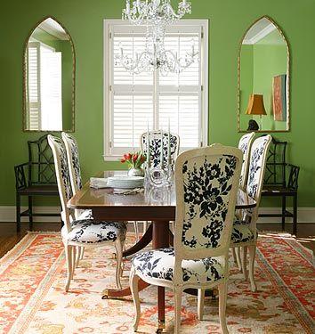 Olive-green dining room. hmmm...