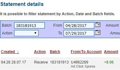 My #69 Withdrawal Proof of online income from Ad Click Xpress.Ad Click Xpress is the top choice for passive income seekers.I get paid daily and I can withdraw daily. Online income is possible with ACX, who is definitely paying – no scam here.Join for FREE and get 10$ Tripler pack from ACX to get you started earning 2% per day.JOIN ME AND LET'S MAKE MONEY TOGETHER!!!You wonder why?The answer is simple!Because AdClickXpress is the best online opportunity!