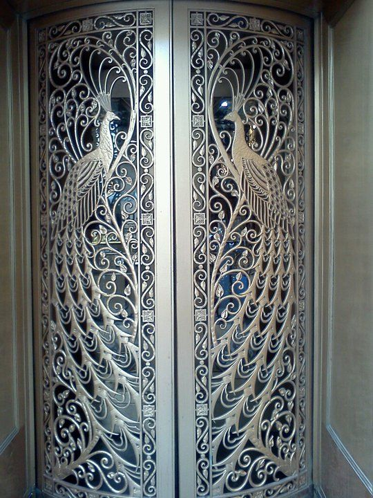 Stunningly elaborate - South State Street - peacock art deco jewelry store doors, Chicago IL...x
