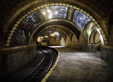 abandoned NY subway station, untouched since 1945. beautiful.