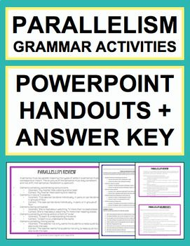 Parallel Sentence Structure - Grammar Worksheets, PowerPoint, Answer Key. Parallel Sentence Grammar Activities. NO PREP Print & Go Grammar. Make Parallelism Grammar Activities fun with straightforward NO PREP powerpoint and practice activities. Easy to use Parallel Sentence Worksheets & PowerPoint for student review and practice.