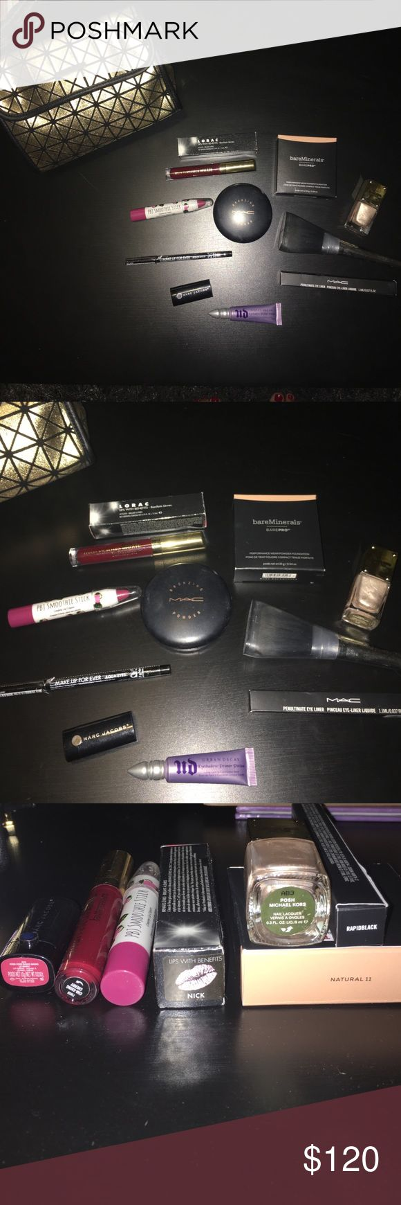 Beauty/Makeup Bundle w/ Makeup Bag Sephora Powder Brush (used once, brush has a small dent) Makeup Forever Black Aqua Eyes Pencil Eyeliner (broke seal never used), Eye Lash Curler, Michael Kors Polish(used 2xs)PBJ Smoothie Stick (swatched), BareMinerals Marvelous Moxie ButterCream (Cha-Ching Cherry, new),Lorac Lip Gloss(new, color is Nick, pale pinkish), Mini Marc Jacobs Lip Stick(kiss kiss bang bang),Mac Liquid Eyeliner, Mac Bronzing Powder (Refined Golden,80% full), BareMinerals BarePro…