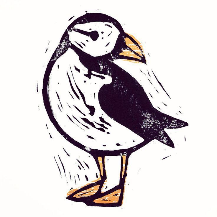 plump puffin, cute, lino, lino cut, printmaking, british wildlife, nature, bird, puffling, design, illustration, sorcha faulkner