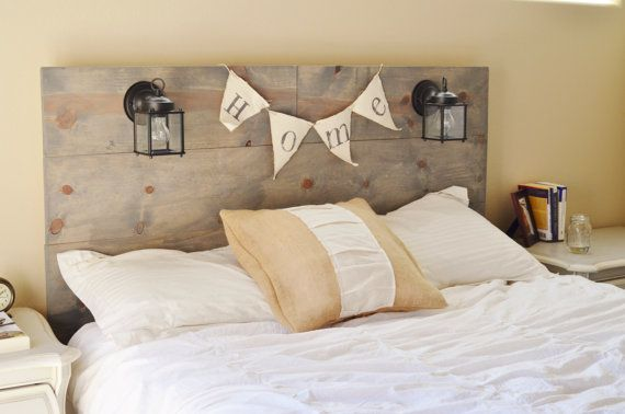 Rustic Headboard with built in lighting by KnotsandBiscuits