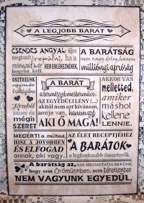 """""""A legjobb barát ..."""" idézetes falikép, táblakép (vintagedesign) - Meska.hu"""