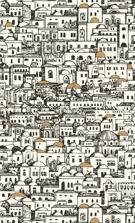 Fornasetti Mediterranean wallpaper .. could be placed juxtaposed to a mono color wall (white .. beige or any of the orange light tones spectral coordinates colors ) for  dramatic and contrast effect ..