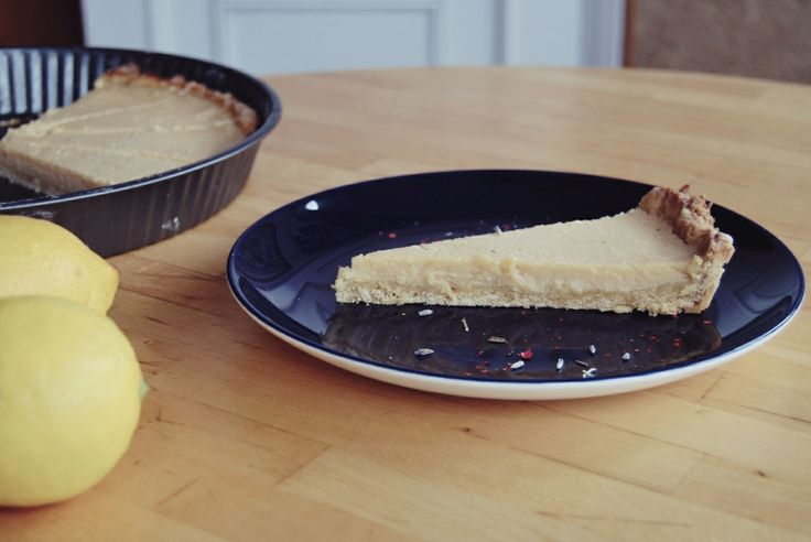 French lemon tart with levander and rose pepper