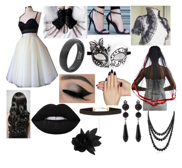 """""""Black wedding"""" by hannahsutherlandrockergirl ❤ liked on Polyvore featuring beauty, Lulu*s, Static Nails, Lime Crime, New Look, Givenchy, Bling Jewelry, Faith Connexion and yourwedding"""