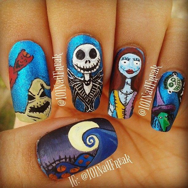 I hate the movie but cute halloween  Nails by 101nailfreak #nail #nails #nailart