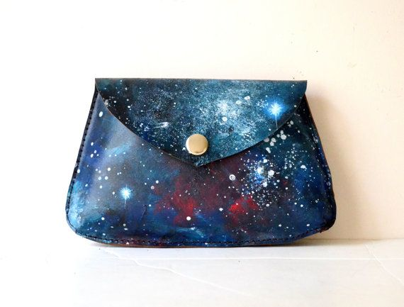 Galaxy Painted Leather Pouch Nebula Bag by BarbaLeatherStudio