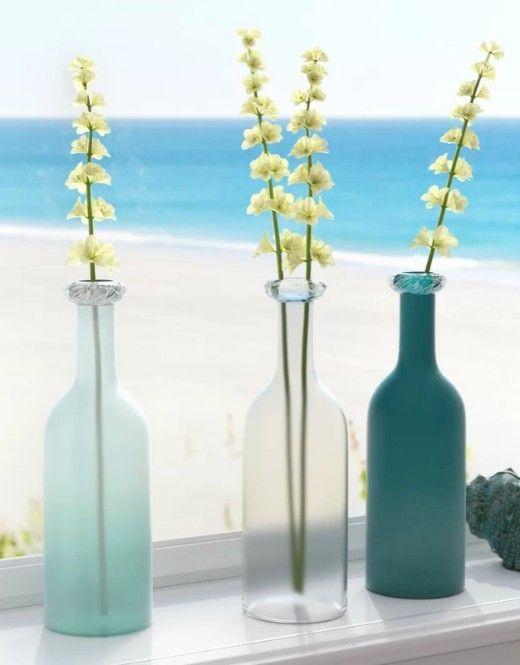 Oceanic Light Aqua Blue  Sea Green Glass Vases Decorating