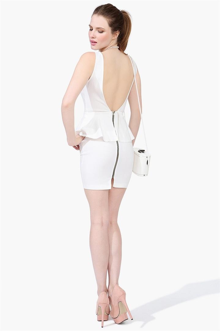 Pandora Peplum Dress - Ivory