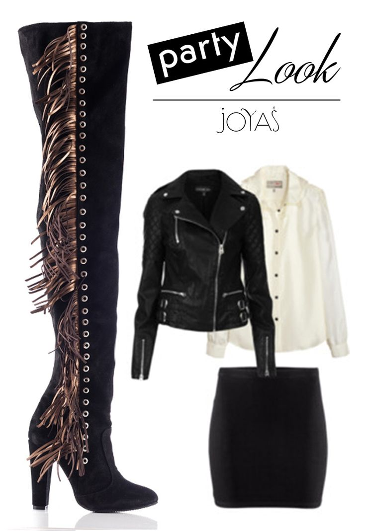 Create a party look with the black over the knee boots with fringes @joyasromania
