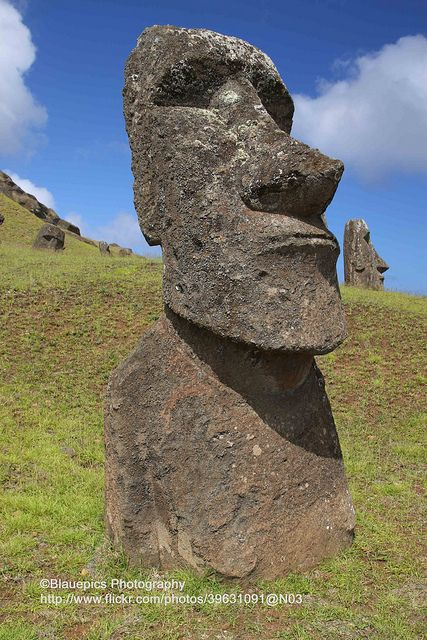 Rano Raraku, Easter Island (Isla de Pascua), Chile ~ UNESCO World Heritage Site.  Photo: blauepics