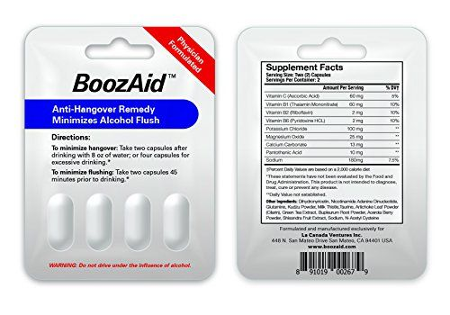 BoozAid Anti Hangover SupplementHelps Symptoms Prevention Reduction ReliefLiver Cleanse Support ReplenishmentReduce Alcohol HangoversScientifically Proven Cure100 SATISFACTION GUARANTEED ** More info could be found at the image url.