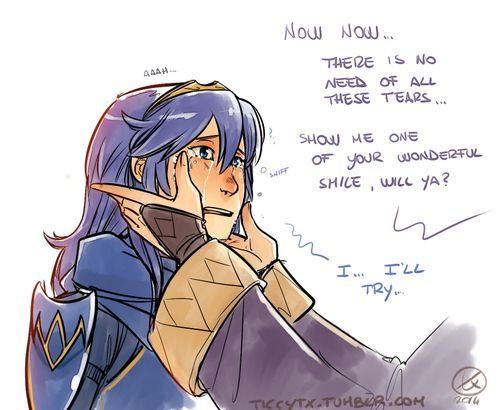 Lucina's reaction when Female Avatar is the mother (3/4) … it's just an heartbreaking scene ;___; Slighty
