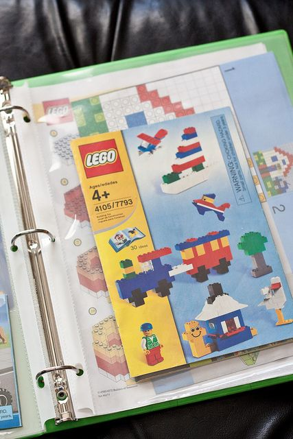 Lego Storage for the Young Builder- such a great way to store the instructions for all the boys' Lego instructions