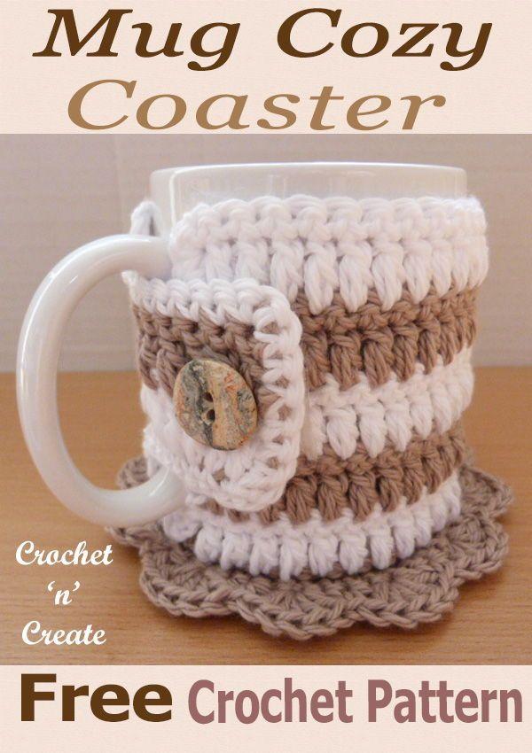 Crochet Mug Cozy Coaster Free Crochet Pattern en 2018 | craftyness ...