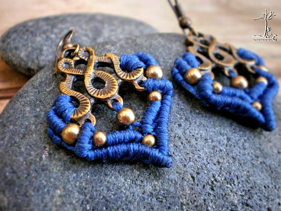 #Navyblue small #rustic beaded #macrame #dangleearrings #dainty #bohochic #jewelryforher #etsygifts #somethingblue #fashion #elegance #bohochic #christmasgifts