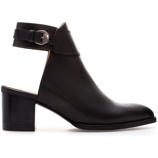Zara Leather Sling Back Ankle Boot ($100) ❤ liked on Polyvore featuring shoes, boots, ankle booties, black, ankle boots, heels, black ankle boots, heeled booties, black leather booties and short leather boots