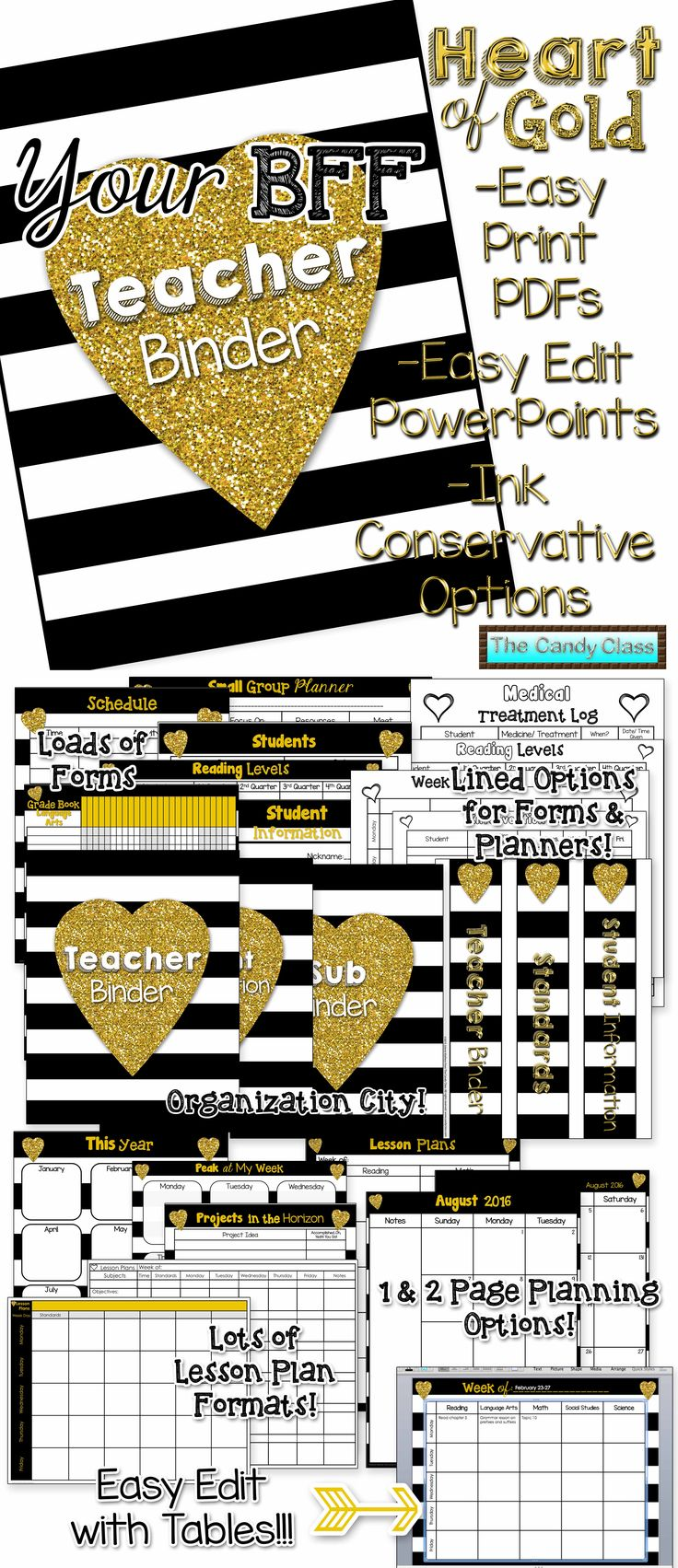 Your new best friend! Very functional with editable tables to make use easy! Blinged out with gold because after all teachers have a heart of gold! Just added: Weekly planners in Excel (there are also planners in PowerPoint and the PDFs) and Common Core checklists for K-6!!! $