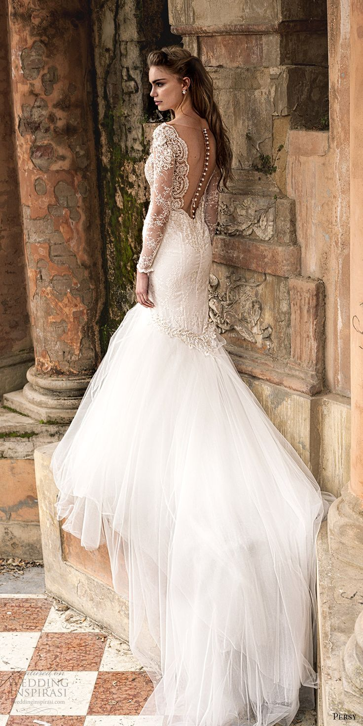 persy 2016 cap sleeves detachable long sleeves deep v neck fit flare lace wedding dress (02) bv sheer bodice illusion back train