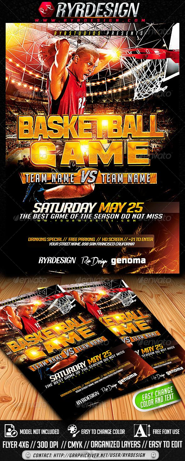 Basketball Playoffs Flyer PSD Super Easy to edit text and Elements ALL TEXT IS EDITABLE Resolution: 300dpi CMYK color Layered PSD , Well organized in folders and color coordinated4x6All Elements Use in this flyer are Custom Made Elements and are includedFRE