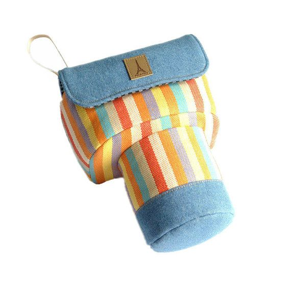 Custom DSLR Camera Case Bag Denim Blue with Colorful by PessyLee, $45.00