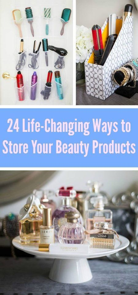 24 Life-Changing Ways to Store Your Beauty Products! Brushes in glasses case, revolving two layer spice rack, liners, pencils, etc in pencil box, hot tools in magazine holder, hairspray bottles on wine rack, desk organizer for makeup palettes,