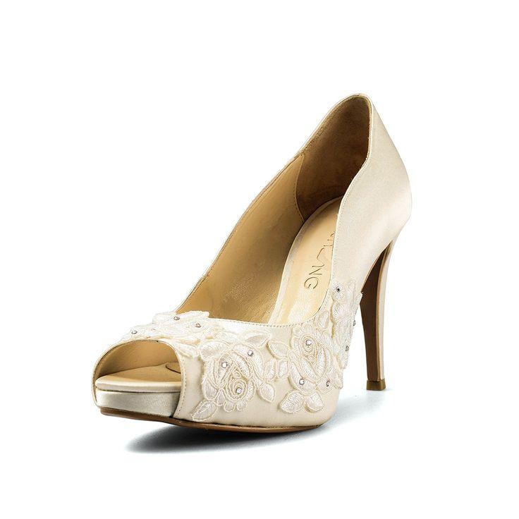 La France Ivory Lace Wedding Shoes,Ivory Lace Satin Bridal Heels,Ivory Lace Peep Toe Wedding Shoes, Ivory Lace Bridal Heels by ChristyNgShoes on Etsy