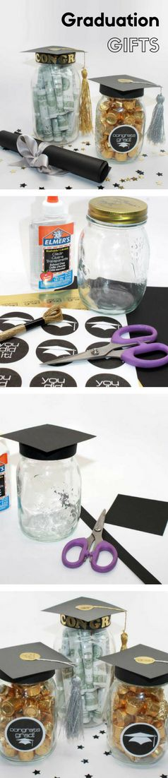 Graduation hat Mason jar gifts tutorial