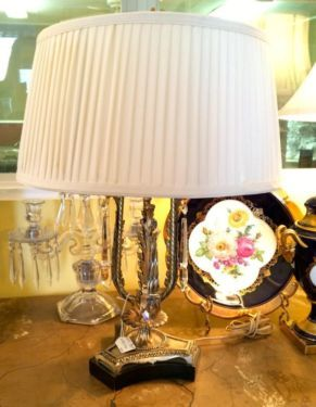 """1950's Lamp With Seven Inch Crystal Prisms  24"""" Tall   $175  Butler Creek Antiques Dealer #8804  Lucas Street Antiques 2023 Lucas Dr. Dallas, TX 75219  Like us on Facebook: https://www.fa"""