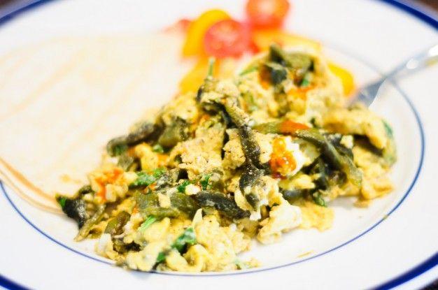 Scrambled Eggs With Epazote And Poblanos