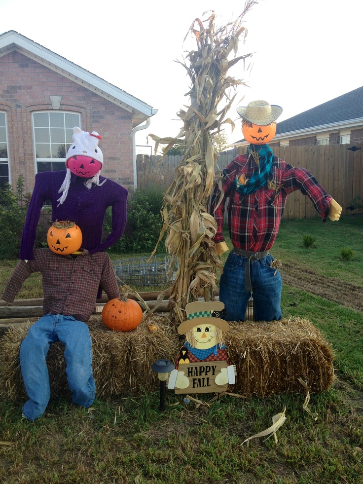 homemade scarecrow decoration halloween fall